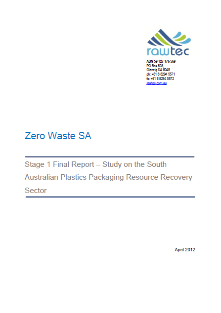Study on SA plastics packaging resource recovery sector (2013)